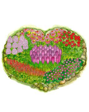 Sydänkäpynen-perennapenkki