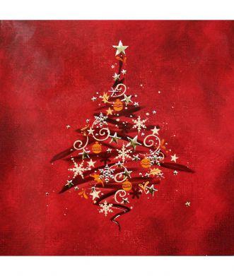 Joulukortti Punainen kuusi