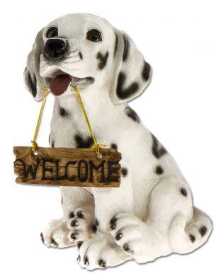 Dalmatialainen Welcome-kyltillä
