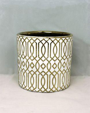 Koristeruukku kuvioitu valko-kulta