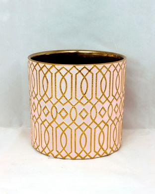 Koristeruukku kuvioitu roosa-kulta